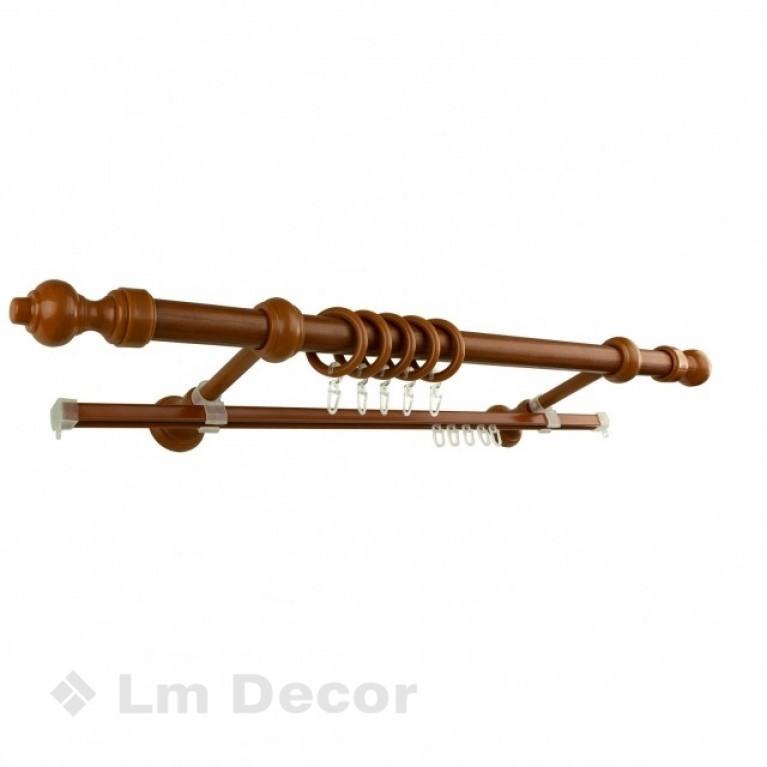 Круглый карниз на стальной трубе D=28mm Вишня